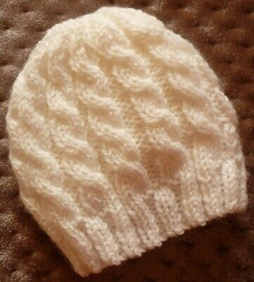 Newborn Baby Beanie. White Cable Pattern. Boy Or Girl Baby. Hand-Knitted By Me.