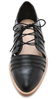 Loeffler Randall Fay Leather Oxford Brogue Shoes Black size 8