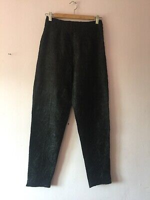 Hobbs Quality 100% Pure Silk Ladies Trouser Size 8/10 Black Dupion Embroidered
