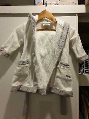 Peter Alexander White/Grey Hooded Dressing Gown Size 9-18 months