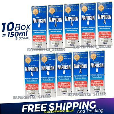 10 x Naphcon A Eye Drops 15 mL (0.5 oz) Redness Itchy Allergy Relief Exp:05/2022
