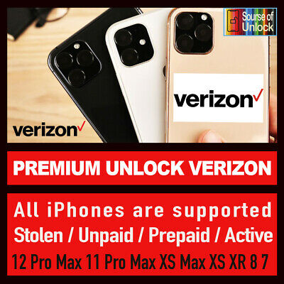 VERIZON PREMIUM FACTORY UNLOCK SERVICE iPhone 11 Pro Max 11 Pro XS Max XS XR X 8