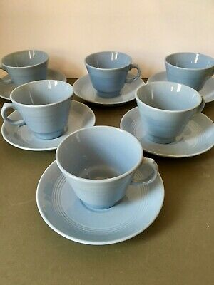 Woods Ware Iris Blue Tea Cups & Saucers x6 1940's Retro Vintage Utility Ware Set
