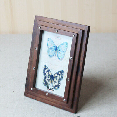 6x4 Rustic Shabby Chic Oak Colour Wooden Freestanding Wall Mounted Photo Frame