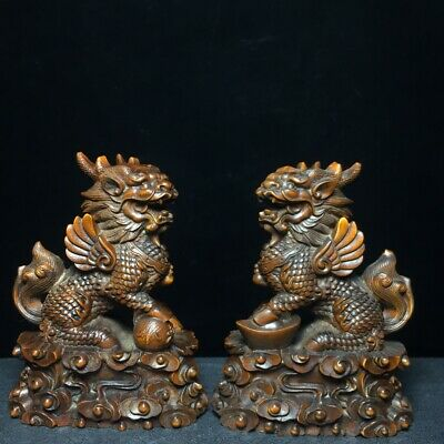 Collectable China Old Boxwood Hand-Carve Myth Kylin & Wealth A Pair Decor Statue