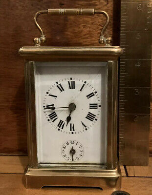 ANTIQUE FRENCH CARRIAGE CLOCK WITH ALARM Working, Cleaned And Serviced. 8 Day