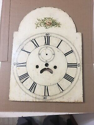 Antique 8 Day Grandfather Clock Dial With Flower Decorations