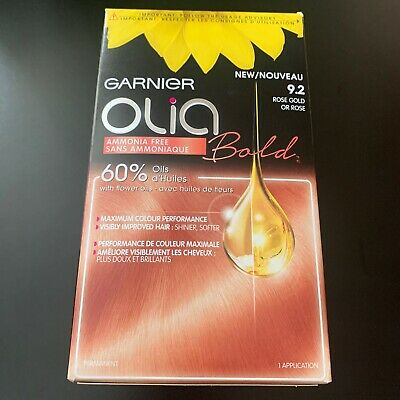 Garnier Olia Bold 9.2 Rose Gold permanent colour blonde Pink Hair Dye NEW