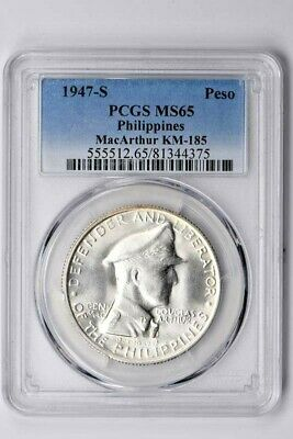 1947-S Philippines 1 Peso PCGS MS 65, MacArthur KM-185  Witter Coin