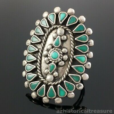 Old Zuni Handmade Sterling Silver Flush Inlay Turquoise Cluster Ring