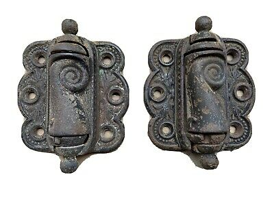 Early Pair Antique Ornate Screen Door Hinges Spring Loaded Cast Iron Restore