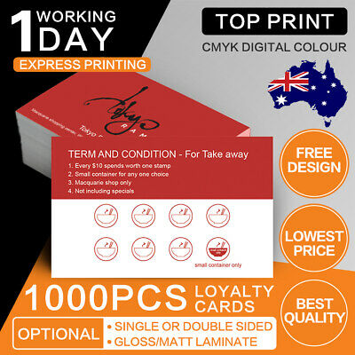 1000 Loyalty Cards [550 micron Business card printing] free design