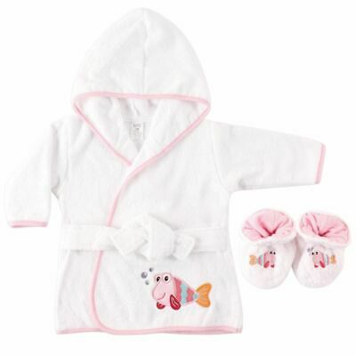 Luvable Friends Girl Bath Robe with Slippers, Fish