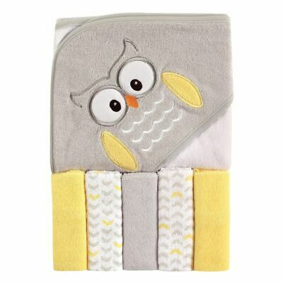 Luvable Friends Boy and Girl Hooded Towel with Washcloths, 6-Piece Set, Owl