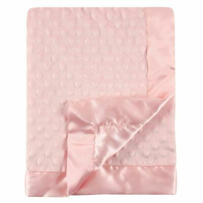 Hudson Baby Girl Minky Blanket with Dotted Mink Backing, Light Pink