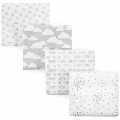 Hudson Baby Boy and Girl Flannel Receiving Blanket 4-Pack, Clouds