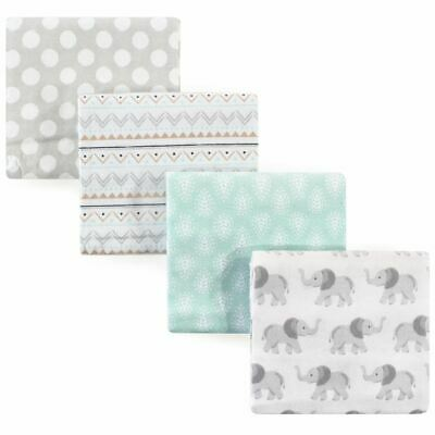 Hudson Baby Boy and Girl Flannel Receiving Blanket 4-Pack, Elephant