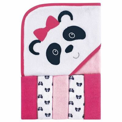 Luvable Friends Girl Hooded Towel with Washcloths, 6-Piece Set, Panda