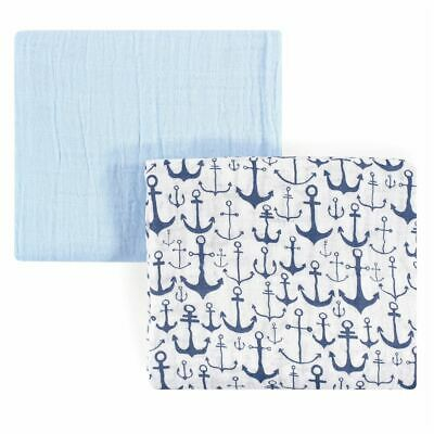 Yoga Sprout Boy Muslin Swaddle Blankets, 2-Pack, Blue Anchor