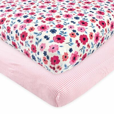 Touched by Nature Organic Cotton Fitted Crib Sheet 2pk, Garden Floral, One Size