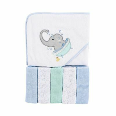 Luvable Friends Hooded Towel and 5 Washcloths, Elephant Bath, One Size