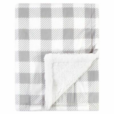 Hudson Baby Mink Blanket with Sherpa Backing, Gray Plaid