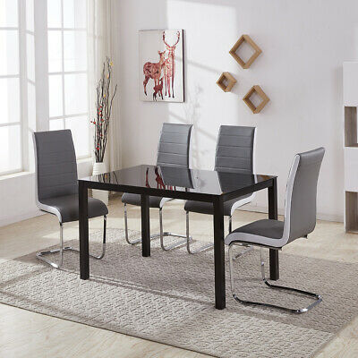 Dining Table and 4 Chairs Set Rectangle Glass Top Faux Leather Chair Modern Home