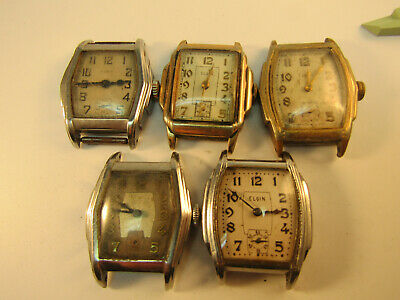 Art deco 1930'S STEPPED CASE ELGIN WATCHES TICK FOR RESTORATION OR PARTS