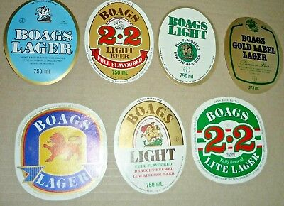 Collectable beer labels -  Set of 7 assorted Boags beer labels