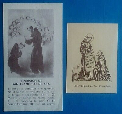 Lote 2 Estampa religiosas antiguas BENDICION DE SAN FRANCISCO DE ASIS holy card