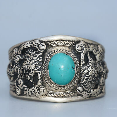 Collect Old Miao Silver Armour Turquoise Hand-Carved Myth Dragon Noble Bracelet