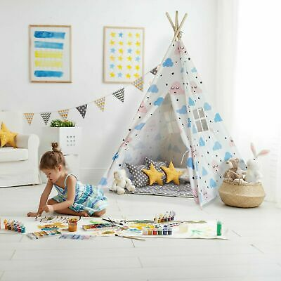 Large Premium Cotton Kids Teepee Play Tent Wigwam Indoor Outdoor Play House
