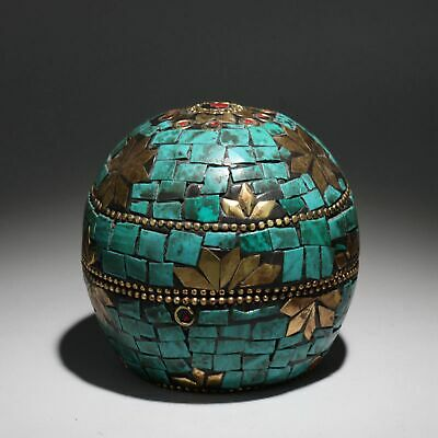 Collect China Old Bronze Inlay Turquoise Hand-Carved Delicate Noble Jewelry Box