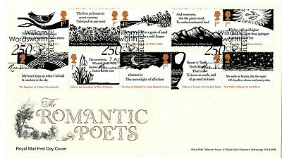 2020 ROMANTIC POETS Stamps GB FIRST DAY COVER FDC AMBLESIDE 250 *NICE* 7.4.20