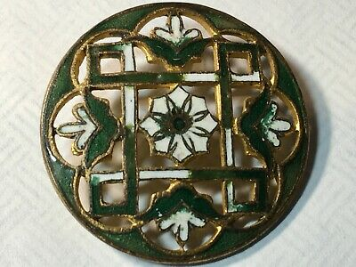 """Antique Button French Champleve Green & White Enamel Intricate Lattice Work 1"""""""