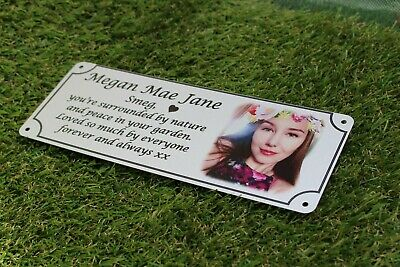 Photo memorial bench plaque for Sister, brushed silver finish, metal, aluminium