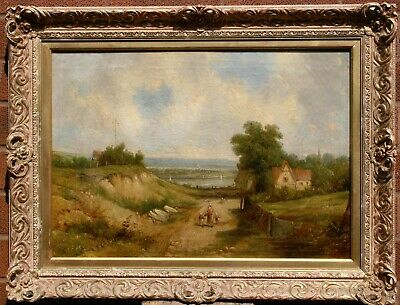 Huge oil painting nude naked young lady after bath by stream landscape /& Pigeons
