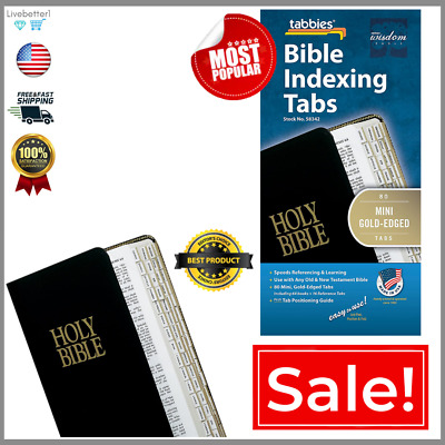 Bible Indexing Tabs Durable Adhesive Easy Read Quick Use Gold-Edged, 80 Pcs NEW.