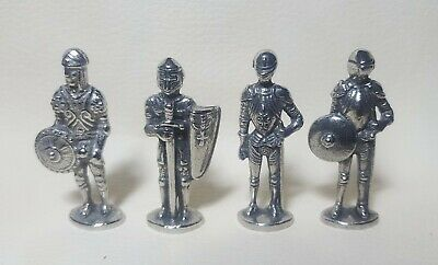 Four Miniature Knights In Shining Armour in Fine Pewter