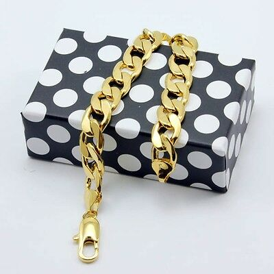 """Men's Charms Bracelet 18K Yellow Gold Filled Curb Chain 9"""" Link Classic Jewelry"""
