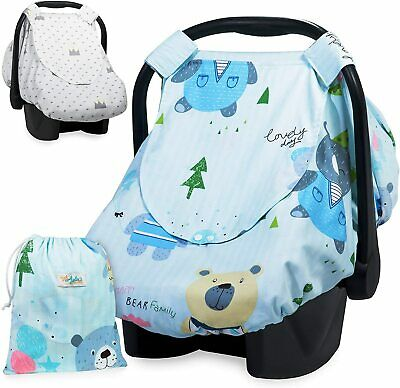 Reversible Car Seat Canopy Infant Car Seat Cover for Boys or Girls Nursing Cover