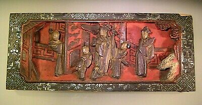 Antique Chinese Wood Carved Panel Inlay Wax Seal