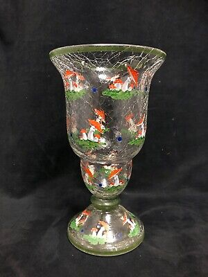 A Austrian Crackle glass vase with hand painted mushrooms