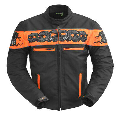 Men's Motorcycle Codura Reflective Skull Jacket With Two Concealed Carry Pockets