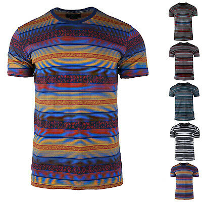 Men's casual Cotton Stripe Stitching short-sleeved  Casual T-shirt