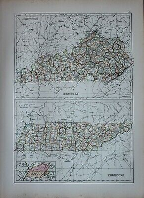1897 Antique Map United States Kentucky Trigg Webster Union Tennessee Perry