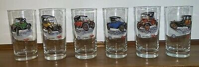 (6) PURE OIL COMPANY 50th Anniversary Vintage Classic Car 12oz Drinking Glasses