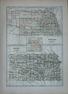 1897 Antique Map United States Nebraska Lancaster Lincoln Kansas Wichita Butler