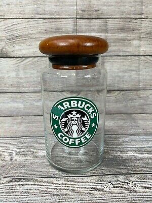 Starbucks Coffee Bean Advertising Glass Jar Storage Container w/  Teak Wood Lid