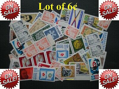 Lot of 100 x 6¢ Vintage Stamps Mint with FULL Gum - 99¢ postage Canada